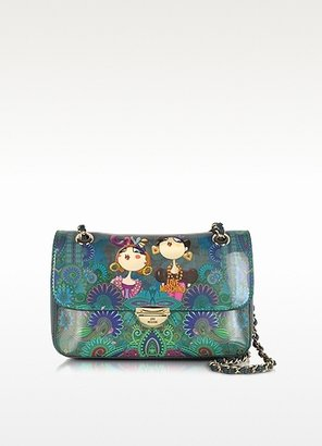 Moschino Petrol Blue Patent Eco Leather Shoulder Bag