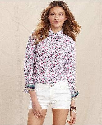 Macy's Tommy Hilfiger Shirt, Long-Sleeve Floral-Print
