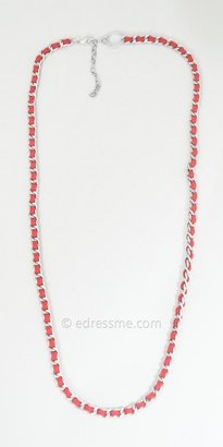 eDressMe One Size Red Suede and Metal Necklace