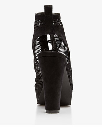 Forever 21 Mesh Cutout Heel Bootie