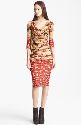 Jean Paul Gaultier Fuzzi Rose Print Ruched Dress