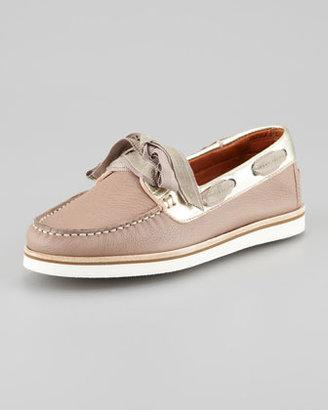 Lanvin Metallic-Trimmed Boat Shoe, Tan