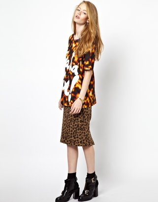 House of Holland Oversized T-Shirt with Viva la Vibe Print