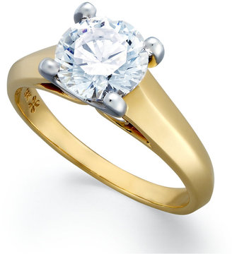 X3 Certified Diamond Solitaire Engagement Ring in 18k Gold over Platinum (1-1/2 ct. t.w.)