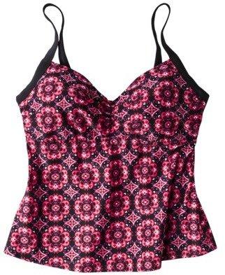 Merona Women's Plus-Size Underwire Tankini Swim Top - Black/Pink