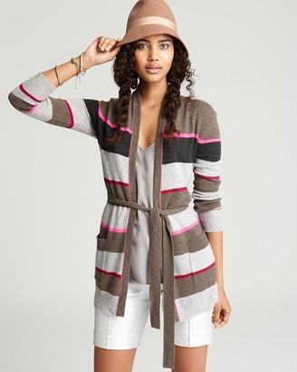 Aqua Cashmere Sweater - Multi Stripe Wrap Cardigan with Pockets