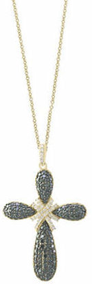 Effy 14K Yellow Gold Studded Cross Pendant Necklace with 1.4 TCW White and Black Diamonds