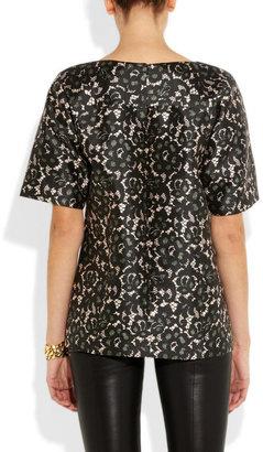 Michael Kors Lace-print silk-blend shantung top