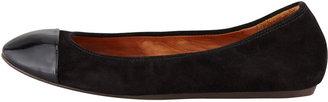 Lanvin Patent Cap Toe Ballerina Flat, Black