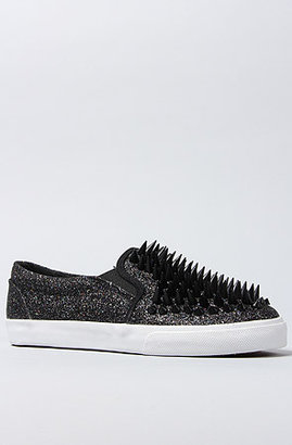 Jeffrey Campbell The Scrape Sneaker in Black Glitter and Black Spikes