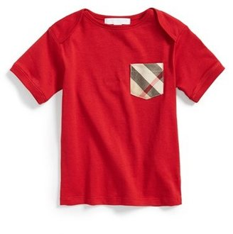 Infant Boy's Burberry 'Callum' Check Pocket T-Shirt $55 thestylecure.com