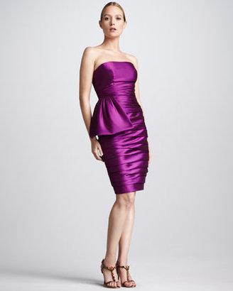 Monique Lhuillier ML Ruched Faille Cocktail Dress