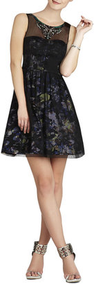 BCBGMAXAZRIA Teegan Beaded-Neckline Pleated Dress
