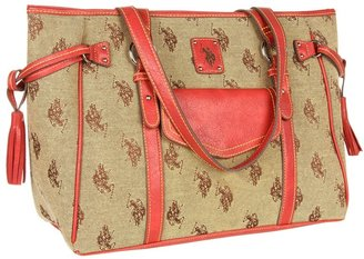 U.S. Polo Assn. USPA Verona Jacquard Tote (Chino) - Bags and Luggage