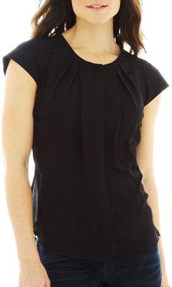 JCPenney Worthington Short-Sleeve Pleat-Neck Button-Front Blouse