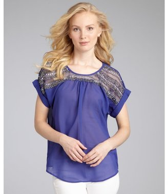 Romeo & Juliet Couture royal chiffon beaded shoulder blouse