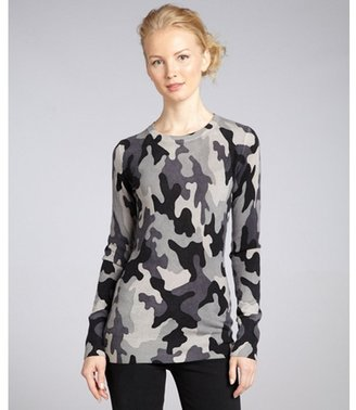 C3 Collection grey camouflage cashmere crewneck sweater