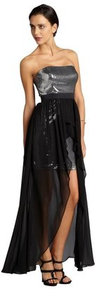 Aidan Mattox black and silver sequin and chiffon strapless high-low evening gown