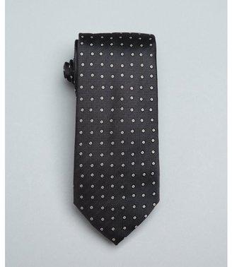 Prada smoke grey geometric dot print silk tie
