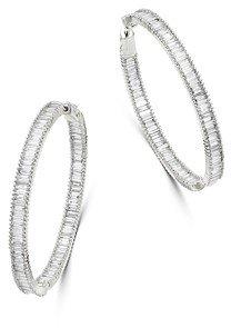 Bloomingdale's Diamond Baguette Hoop Earrings in 14K White Gold, 5.0 ct. t.w. - 100% Exclusive