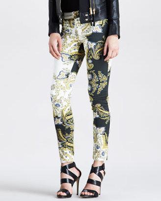Just Cavalli Paisley Crown Printed Skinny Jeans