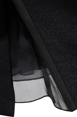 Marni Leather-Trimmed Deep V-Neck Top