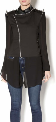 Gracia Leather Chiffon Jacket $91 thestylecure.com