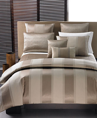 Hotel Collection CLOSEOUT! Bedding, Wide Stripe Bronze Full/Queen Duvet Cover