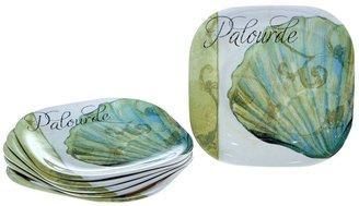 La Mer Certified international by color bakery 6-pc. square melamine dinner plate set