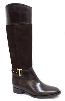 "Tory Burch Tenley"" Brown Leather and Suede Riding Boot"