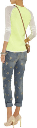 Current/Elliott The Stiletto star-print cropped straight-leg jeans