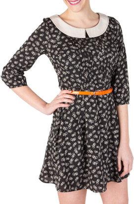 Jessica Simpson Cats Meow Black Print Dress Juniors