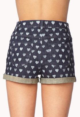 Forever 21 Crazy Hearts Denim Shorts