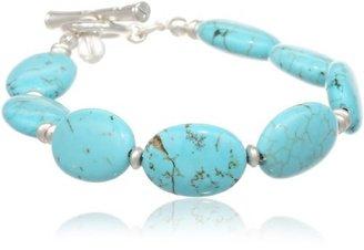 "Kenneth Cole New York Semi Precious Turquoise Bead Toggle Bracelet, 7.5"""
