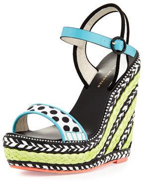 Webster Sophia Lucita Polka-Dot Wedge Sandal, Turquoise
