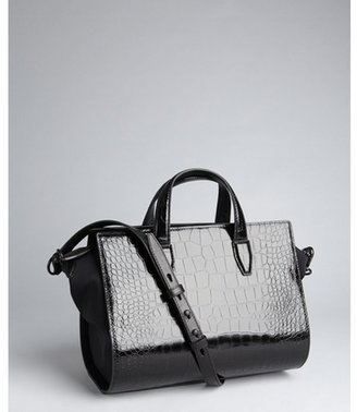 Alexander Wang black crocodile embossed leather convertible 'Pelican' satchel