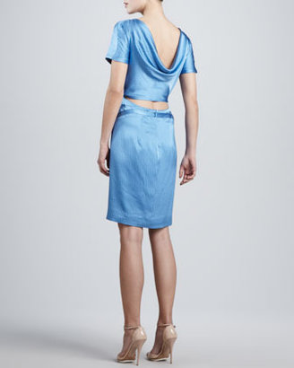 Zac Posen Hammered Silk Short-Sleeve Dress, Blue