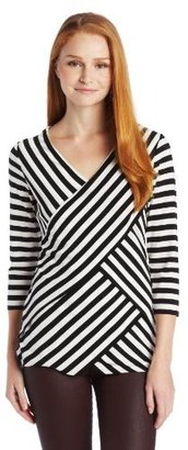 Vince Camuto Women's 3/4 Sleeve Stripe Tiered Top