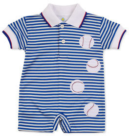 Florence Eiseman Home Run Short Playsuit, Blue, 3-9 Months