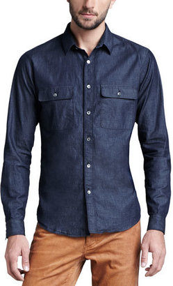 Theory Soft-Wash Chambray Shirt $195 thestylecure.com