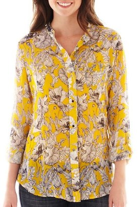 Liz Claiborne Long-Sleeve Button-Front Blouse - Tall