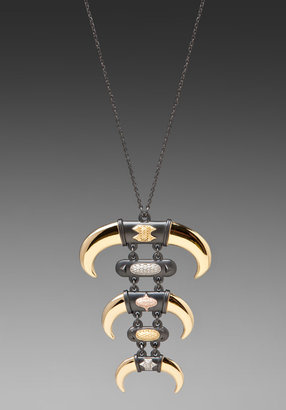 House Of Harlow Triple Horn and Metal Stone Pendant Necklace in Gold/Gunmetal/Rose Gold/Silver