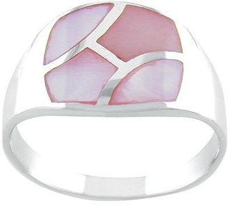 Mother of Pearl Sterling Silver Pink Inlay Ring