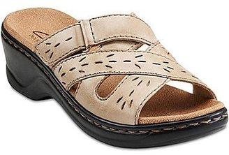 Clarks Lexi Ash Leather Slide Sandals