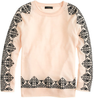 J.Crew Merino embroidered-lace sweater