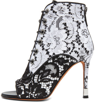 Givenchy Lace & Leather Open Toe Booties in Black & White