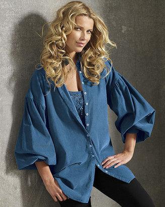 Newport News Billow-Sleeve Corduroy Tunic Shirt