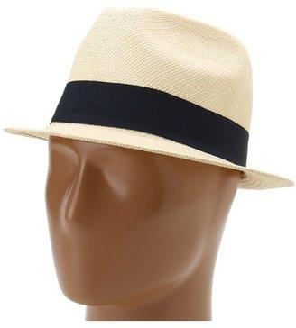 Hat Attack Panama Short Brim Fedora (Natural/Navy Trim) - Hats