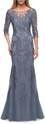 La Femme Lace 3/4-Sleeve Column Gown