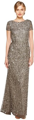 Adrianna Papell - Cap Sleeve Scoop Back Beaded Down Gown Women's Dress $278 thestylecure.com